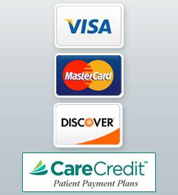 VISA, MasterCard, Discover, Care Credit